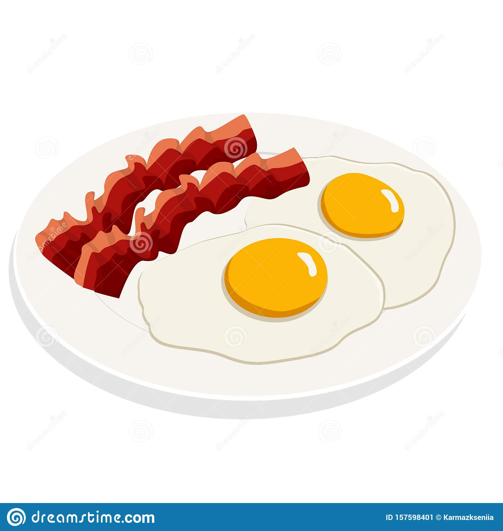 Fried Eggs With Bacon Breakfast On White Plate Flat Vector Illustration Stock Vector Illustration Of Cooked Gourmet 157598401