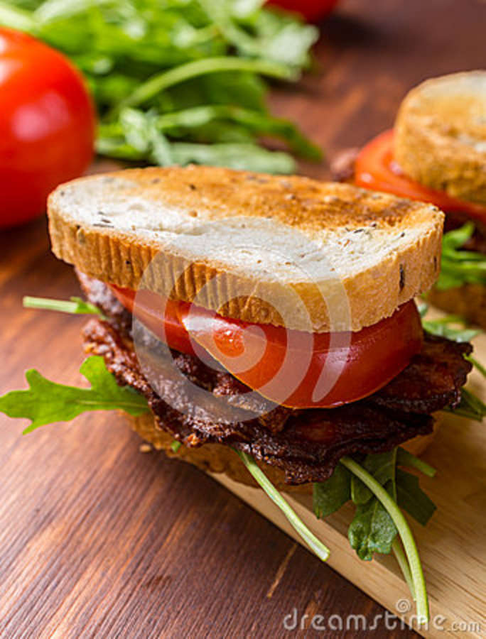 Bacon, Lettuce And Tomato BLT Sandwiches Stock Photo - Image: 43040270