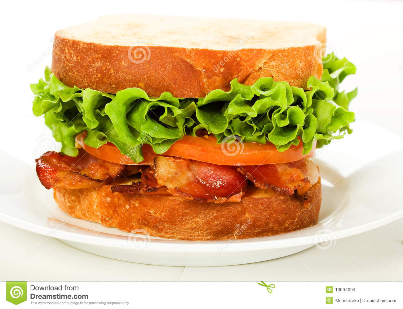 Bacon, Lettuce and Tomato sandwich on lightly toasted thickly sliced ...