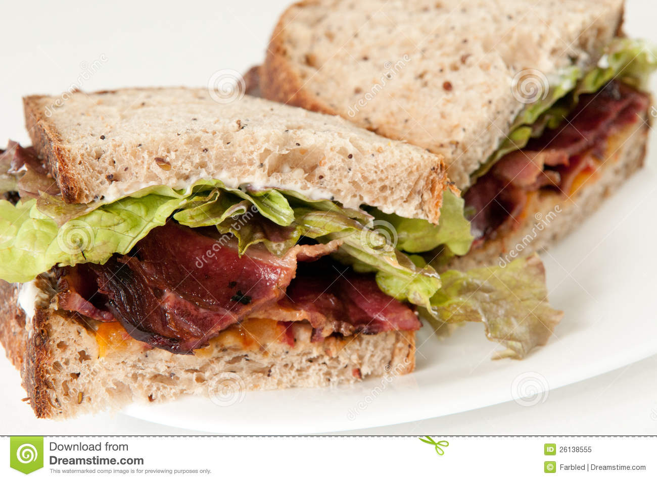 Bacon, Lettuce And Tomato Sandwich Royalty Free Stock Photo - Image ...