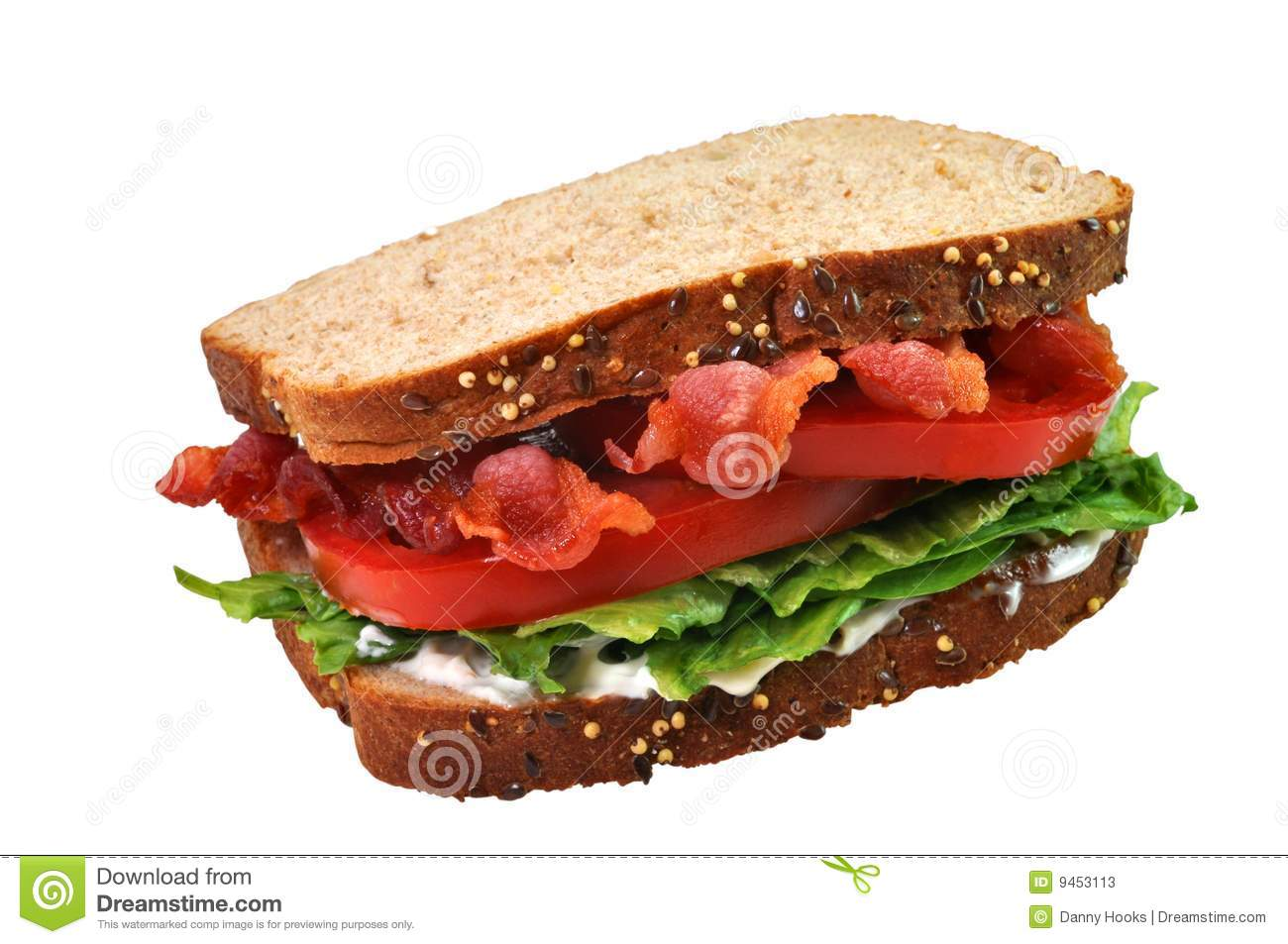 Bacon, lettuce, and tomato sandwich. Isolated on white background with ...