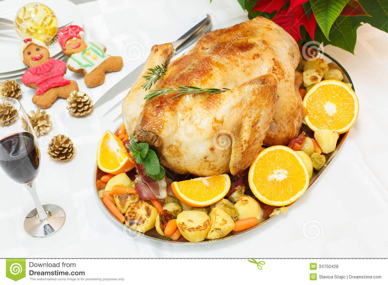 Bacon Roasted Turkey On Festive Table Royalty Free Stock Photos ...