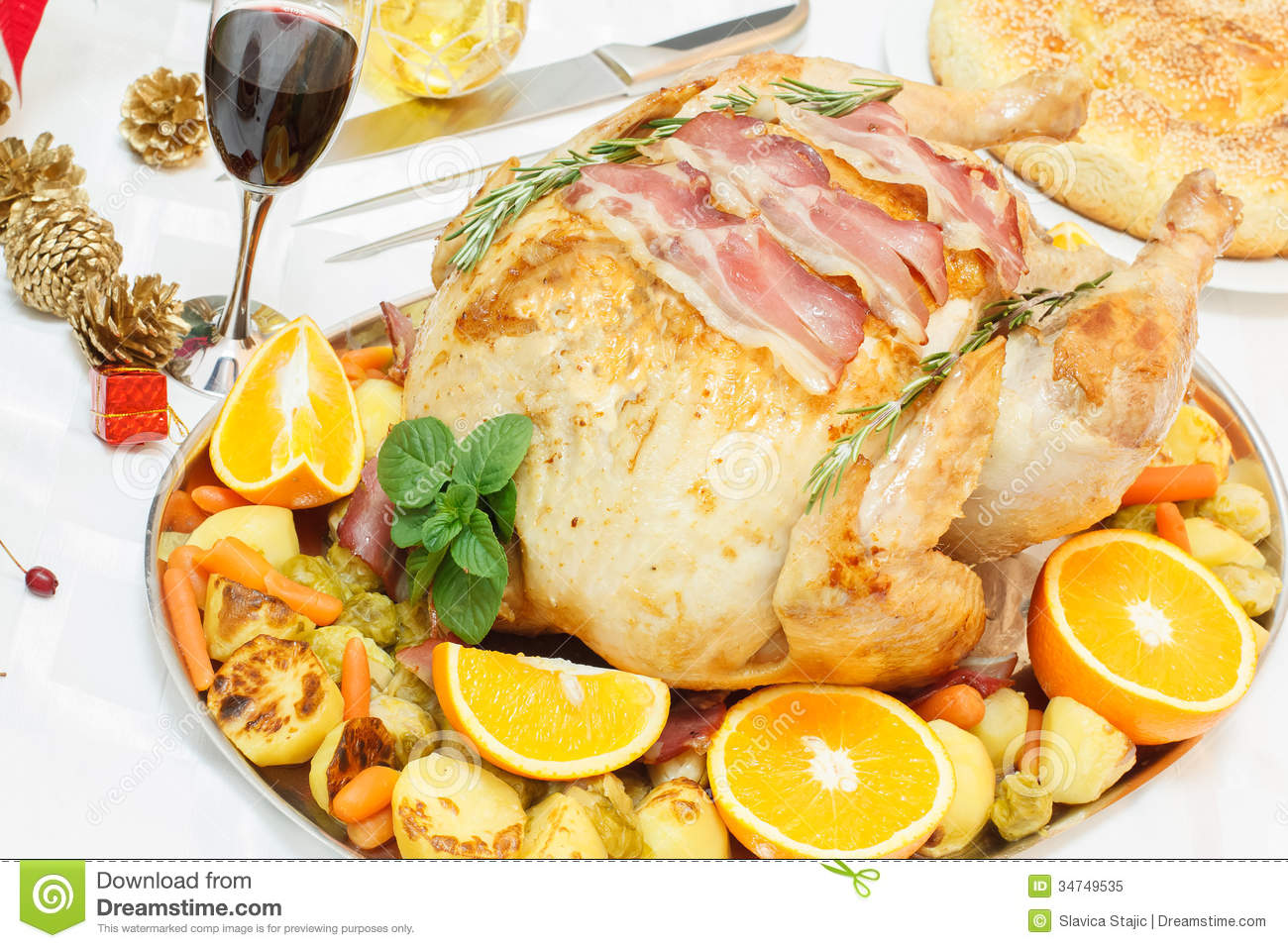 Bacon Roasted Turkey On Festive Table Royalty Free Stock Photo - Image ...
