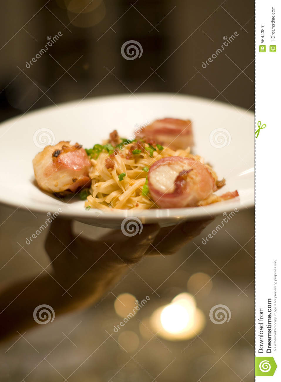 Bacon wrapped scallops and Fettuccine for dinner