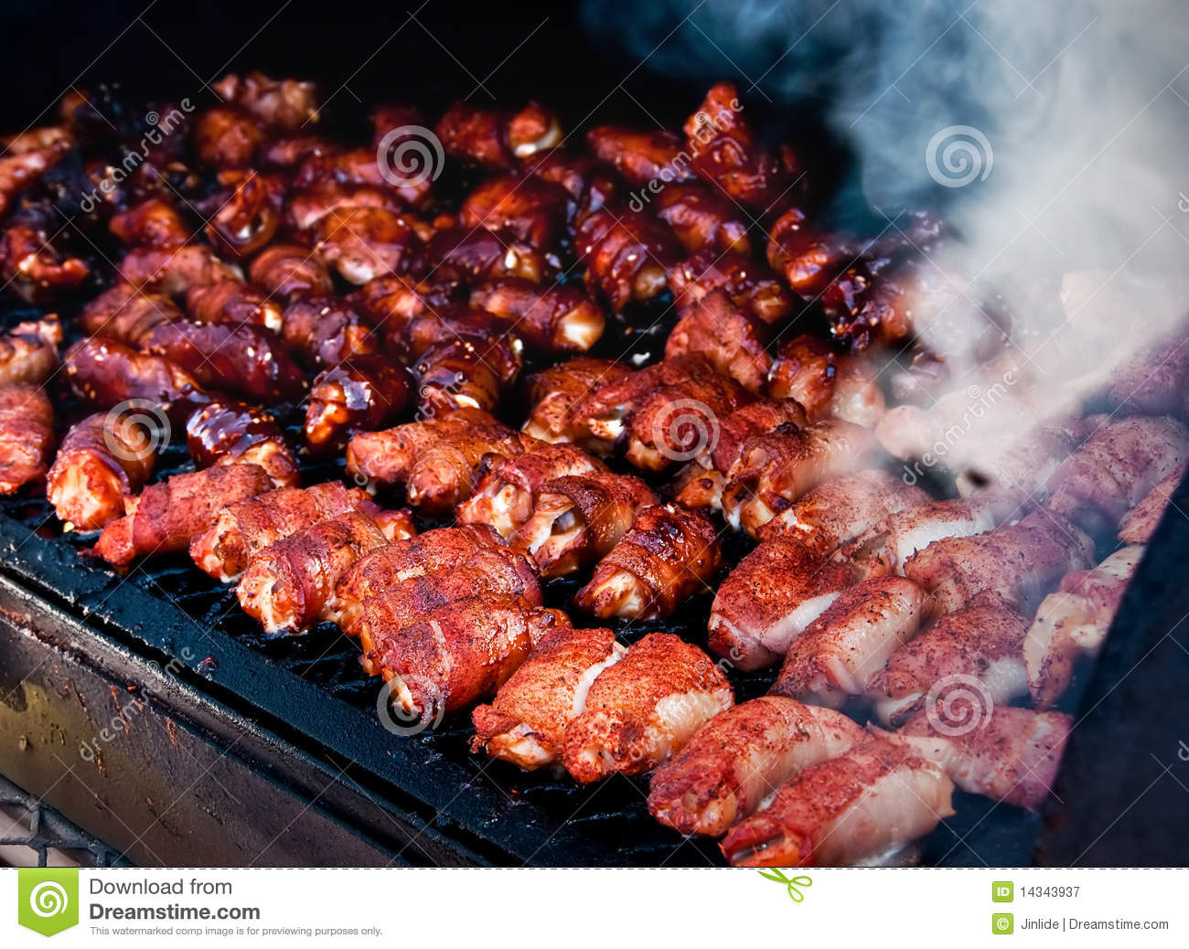Bacon Wrapped Shrimp Smoking On Grill Royalty Free Stock Photography ...