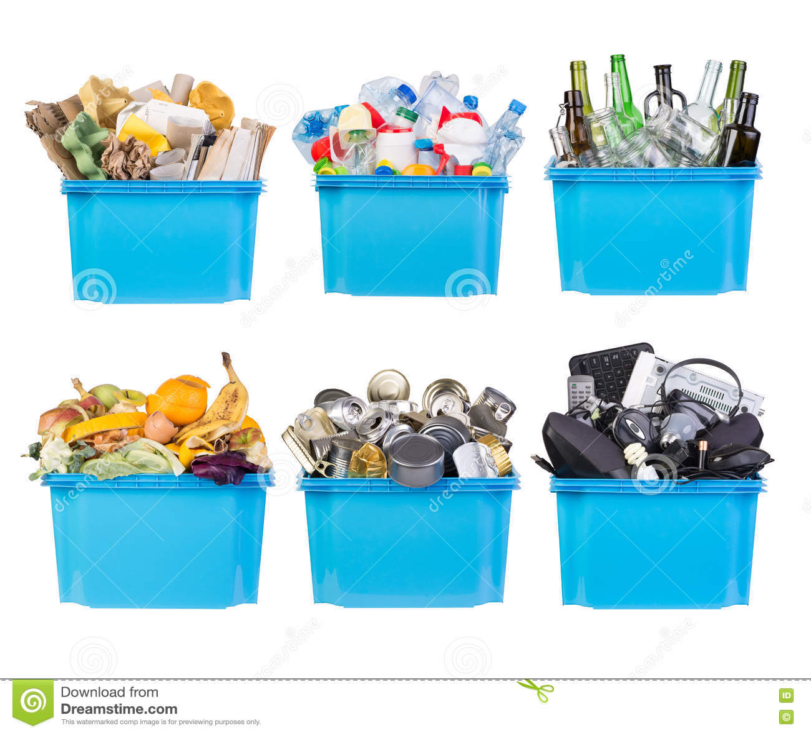 Bacs de recyclage avec les déchets de papier, de plastique, en verre, en métal, organiques et électroniques d isolement sur le bl