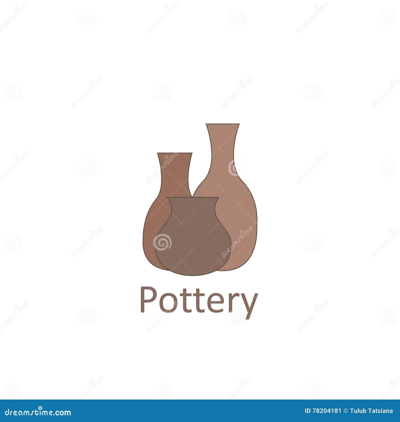 Bacs potables asiatiques L emblème ou l atelier et le magasin de poterie de logo