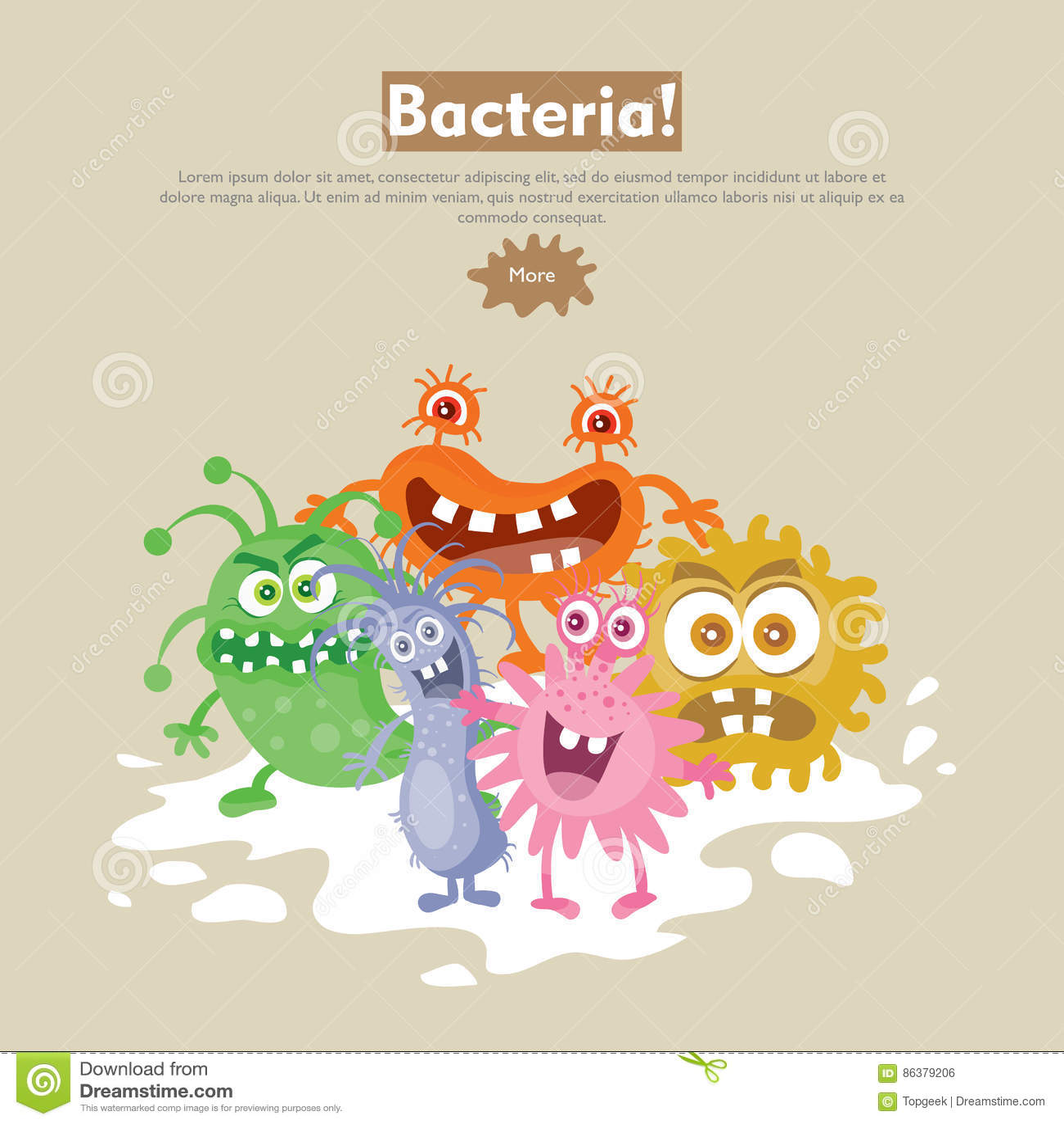 Viral Times Web: Bacteria Flat Cartoon Vector Web Banner Stock Vector
