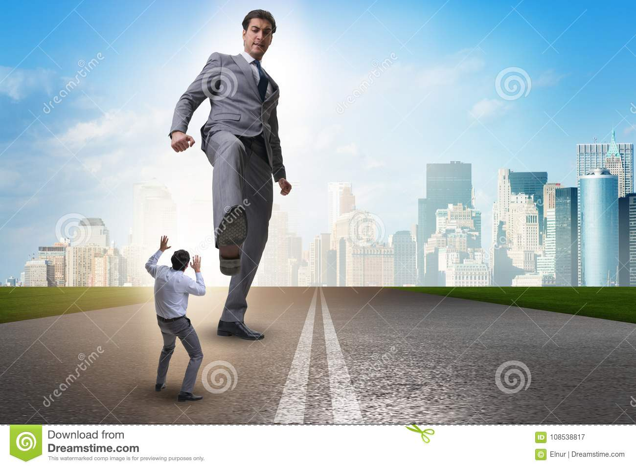 The bad angry boss kicking employee in business concept