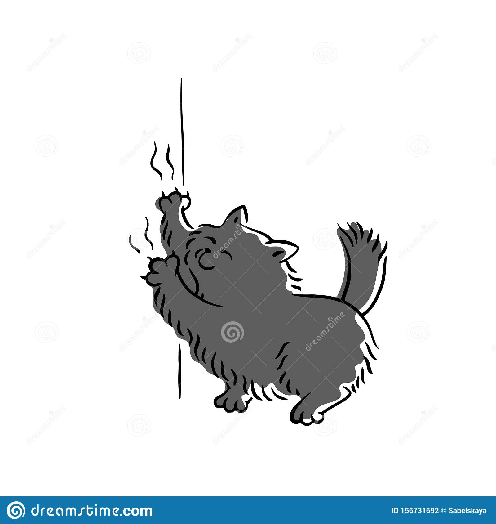 Bad Black Cat Scratching Wallpaper Sketch Cartoon Vector Illustration Isolated Stock Vector Illustration Of Background Colorful 156731692