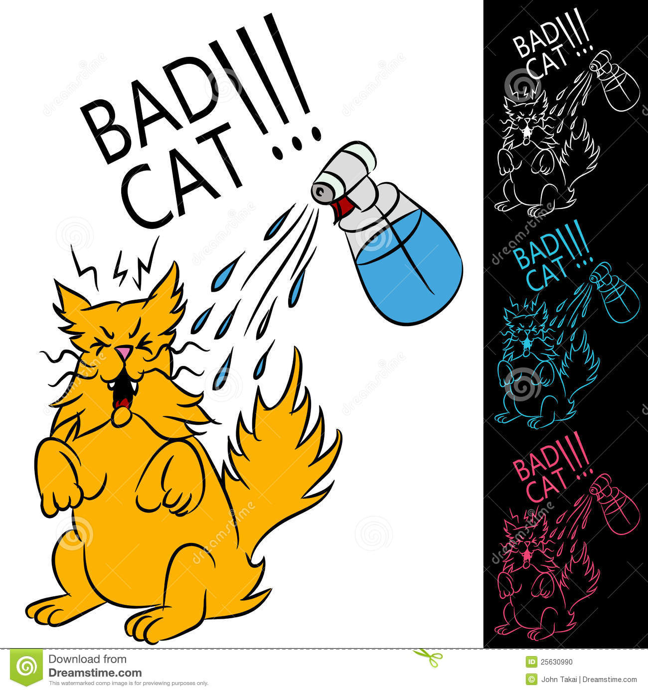 An image of a cat being sprayed with a water bottle. Smiling Dog And Cat