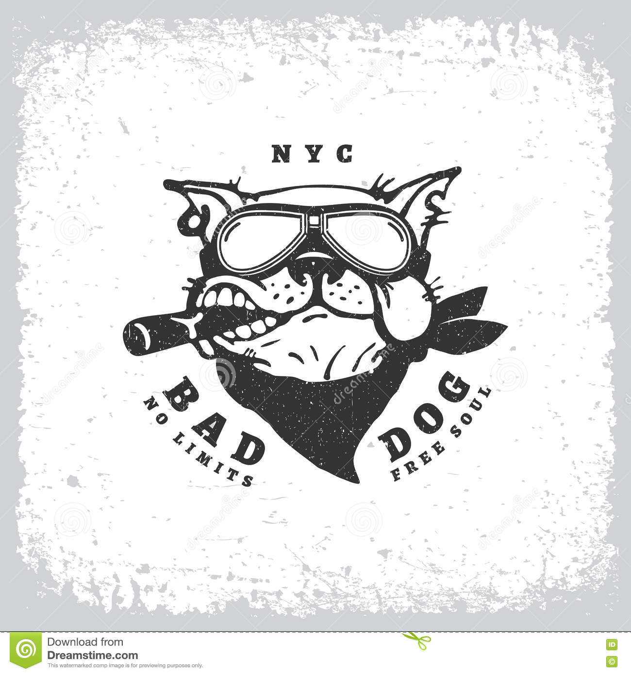 b5e90576 Vintage label with bulldog in goggles on grunge background for t-shirt  print, poster, emblem. Vector illustration.