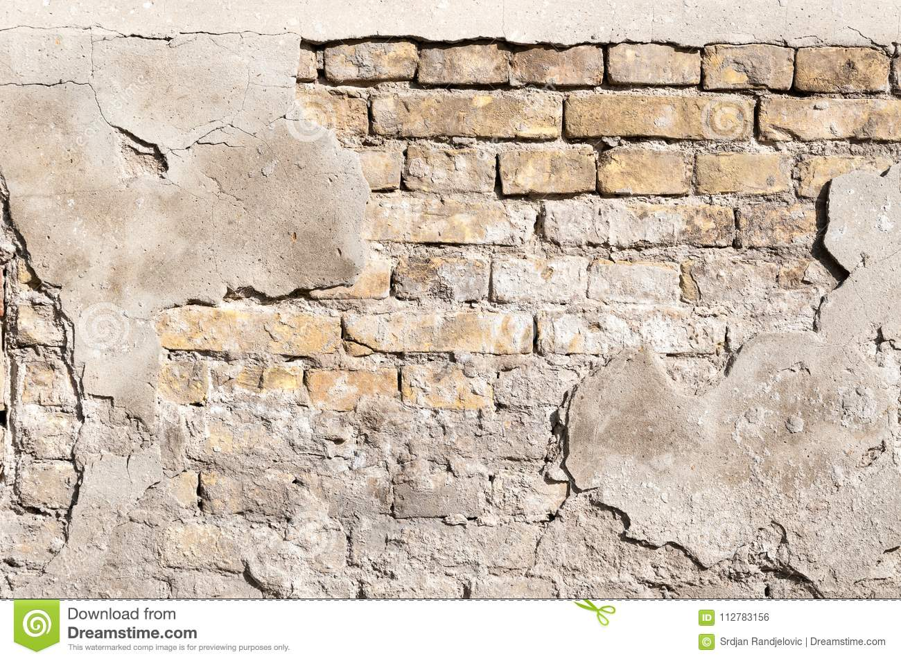 Bad Foundation Base On Old House Or Building Cracked Plaster Facade Wall With Brick Background Stock Photo Image Of Builder Defect 112783156