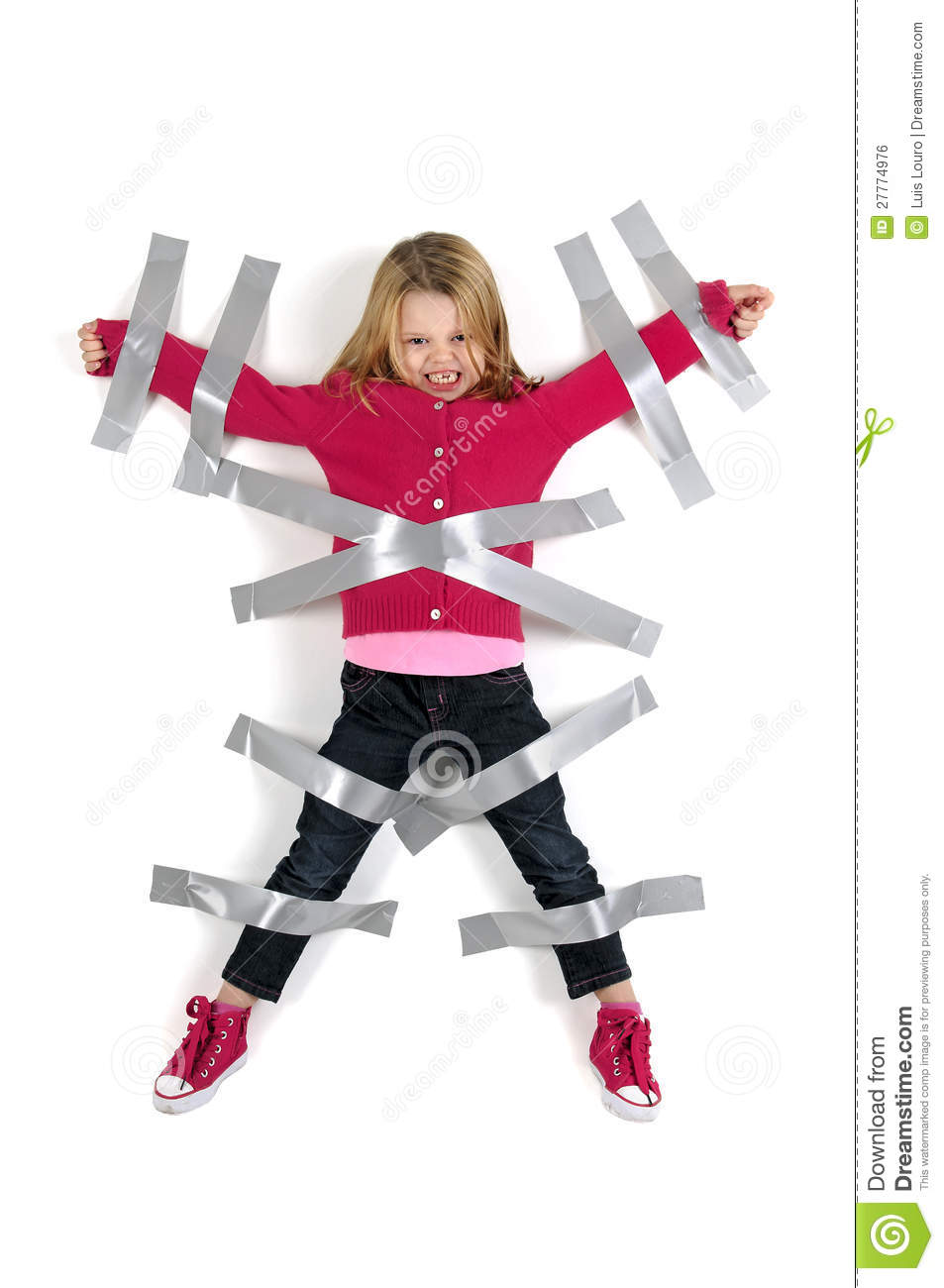 Taped up girl hops around house - 2 2