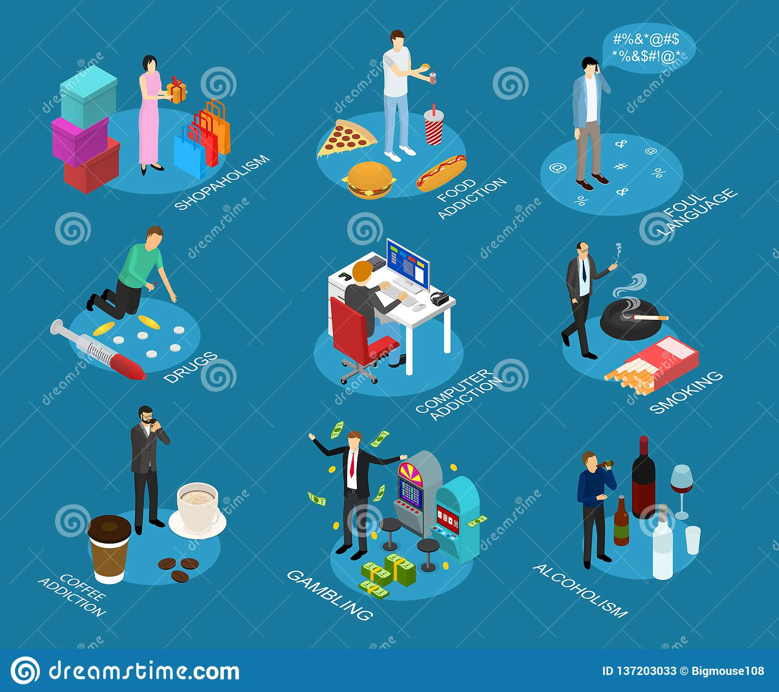 Bad Habits Sign 3d Icon Set Isometric View. Vector