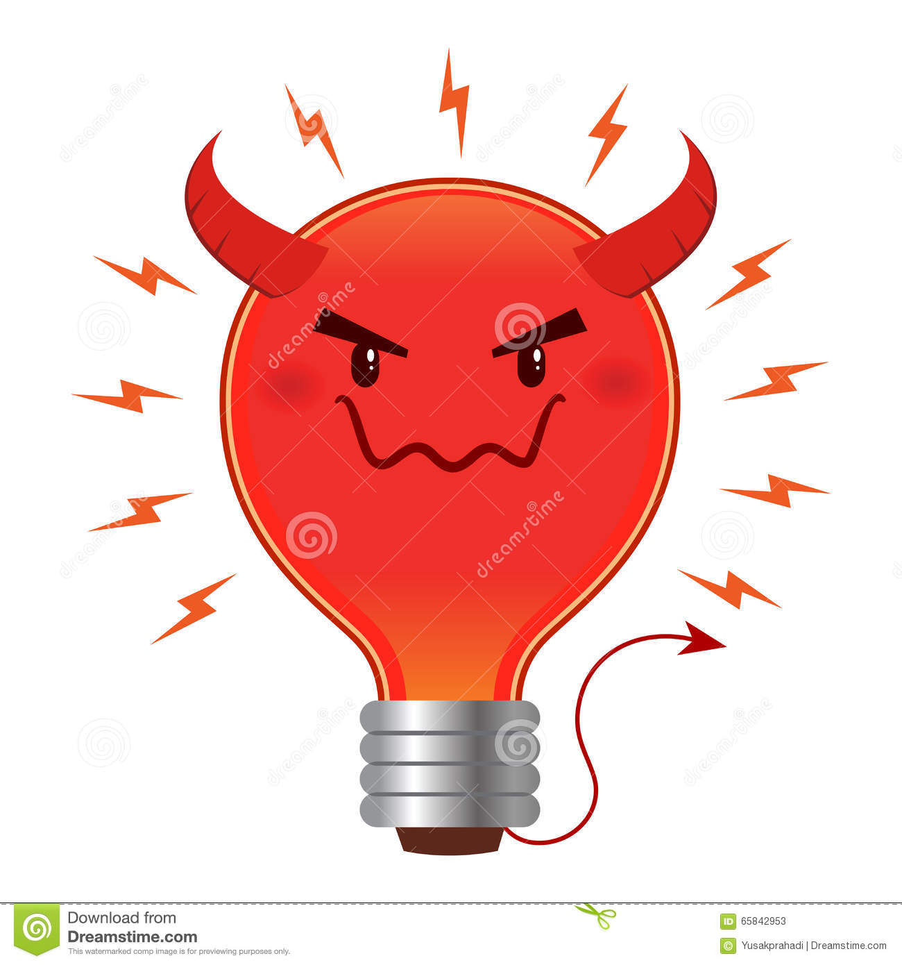 bad idea evil light bulb with horn and tail stock vector image 65842953. Black Bedroom Furniture Sets. Home Design Ideas