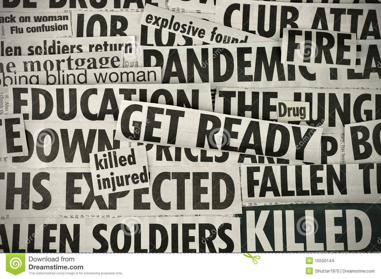 Bad News Stock Photo Image Of Text Headlines Concern 10550144