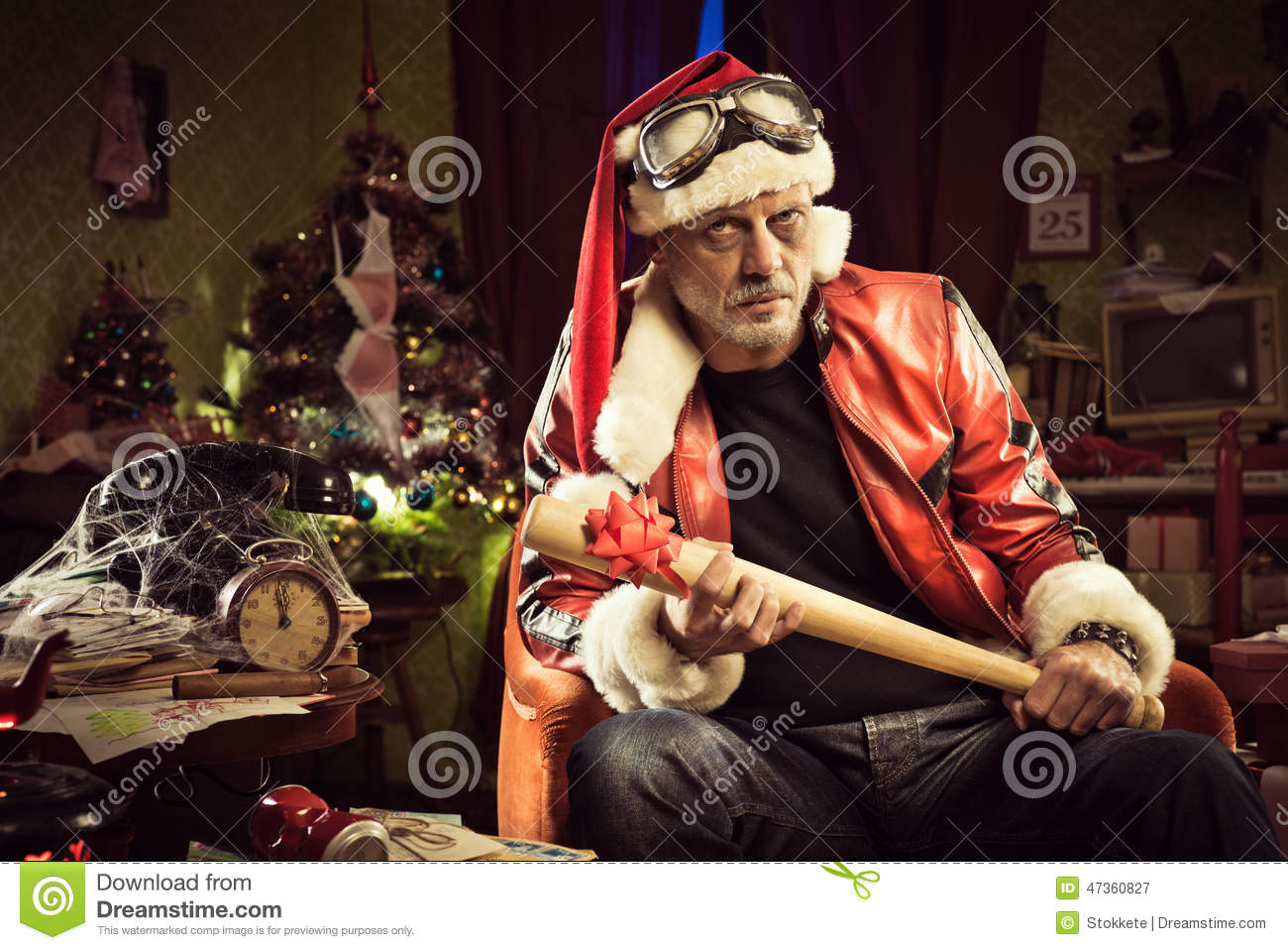 Bad Santa With Bad Christmas Gift Stock Photo - Image: 47360827