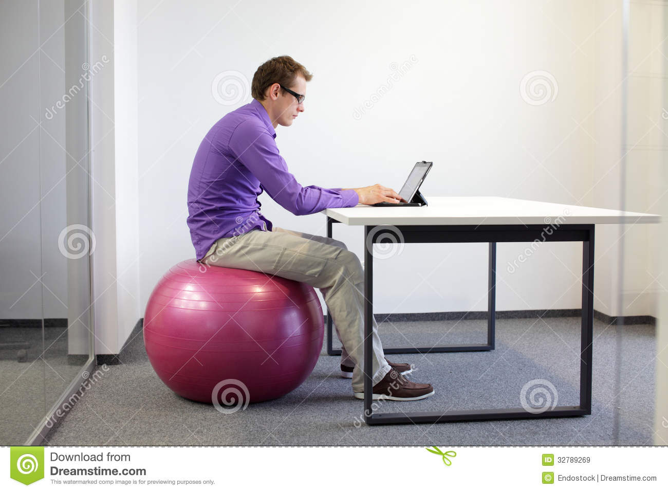 Bad sitting posture at tablet royalty free stock images image 32789269 - Stability ball for office ...