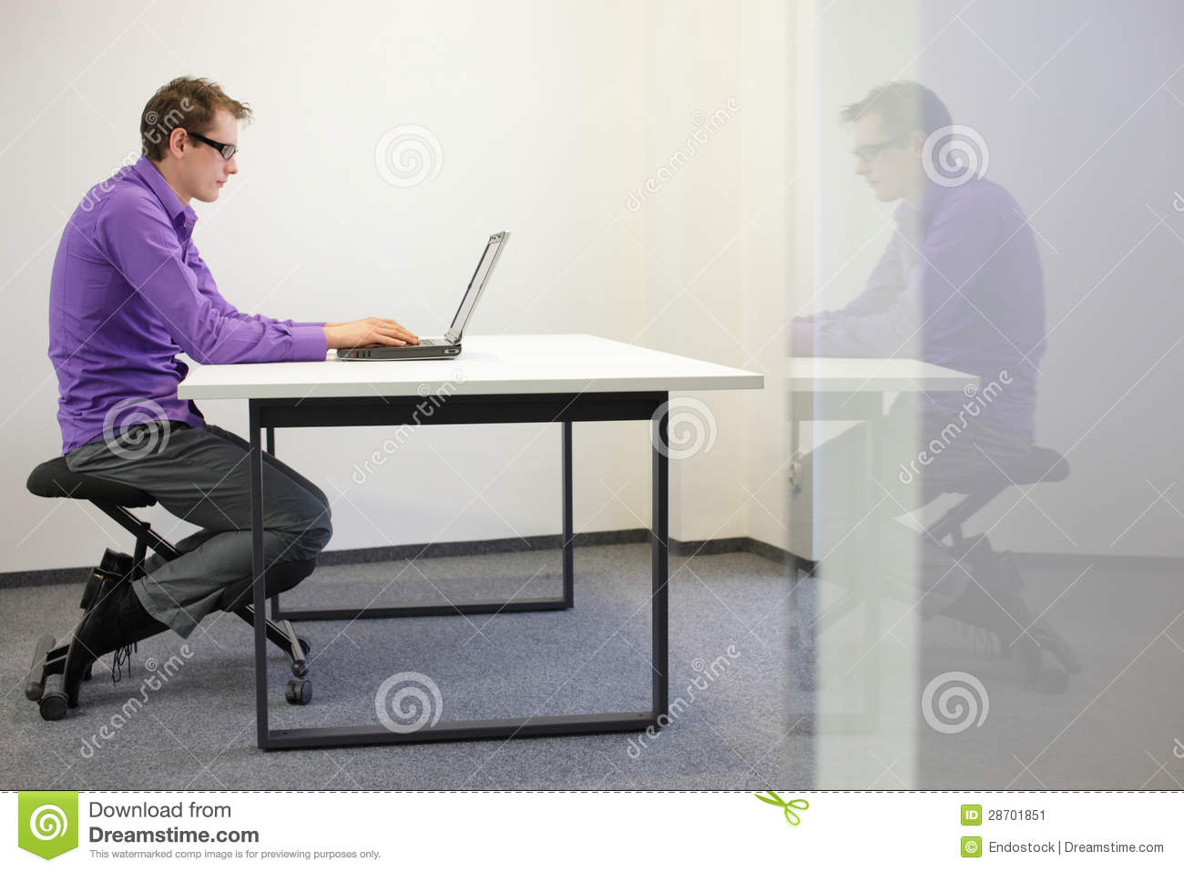 Bad Sitting Posture On Kneeling Chair Stock Image Image