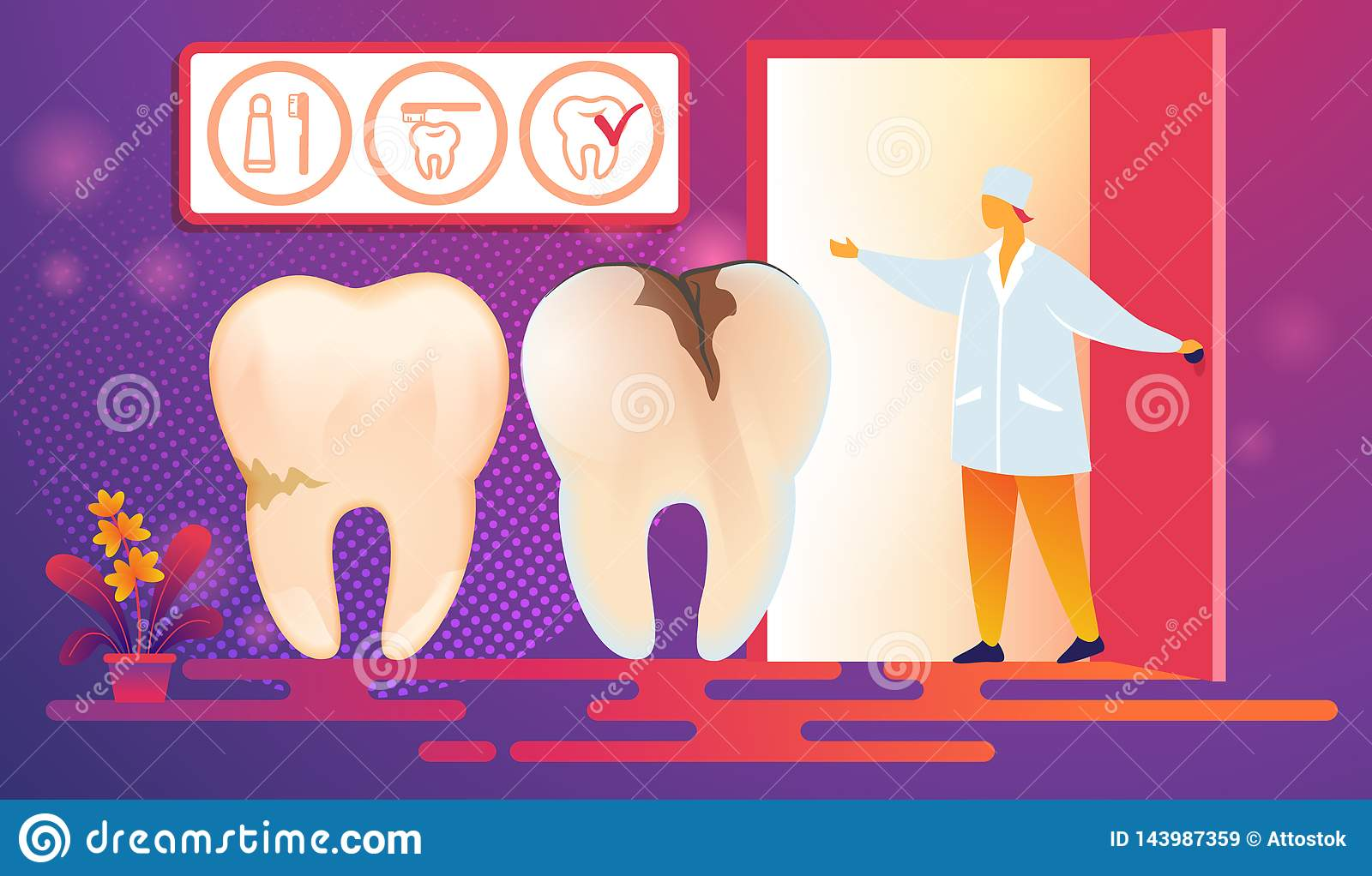 Bad Teeth with Caries Desease Come on Procedure.