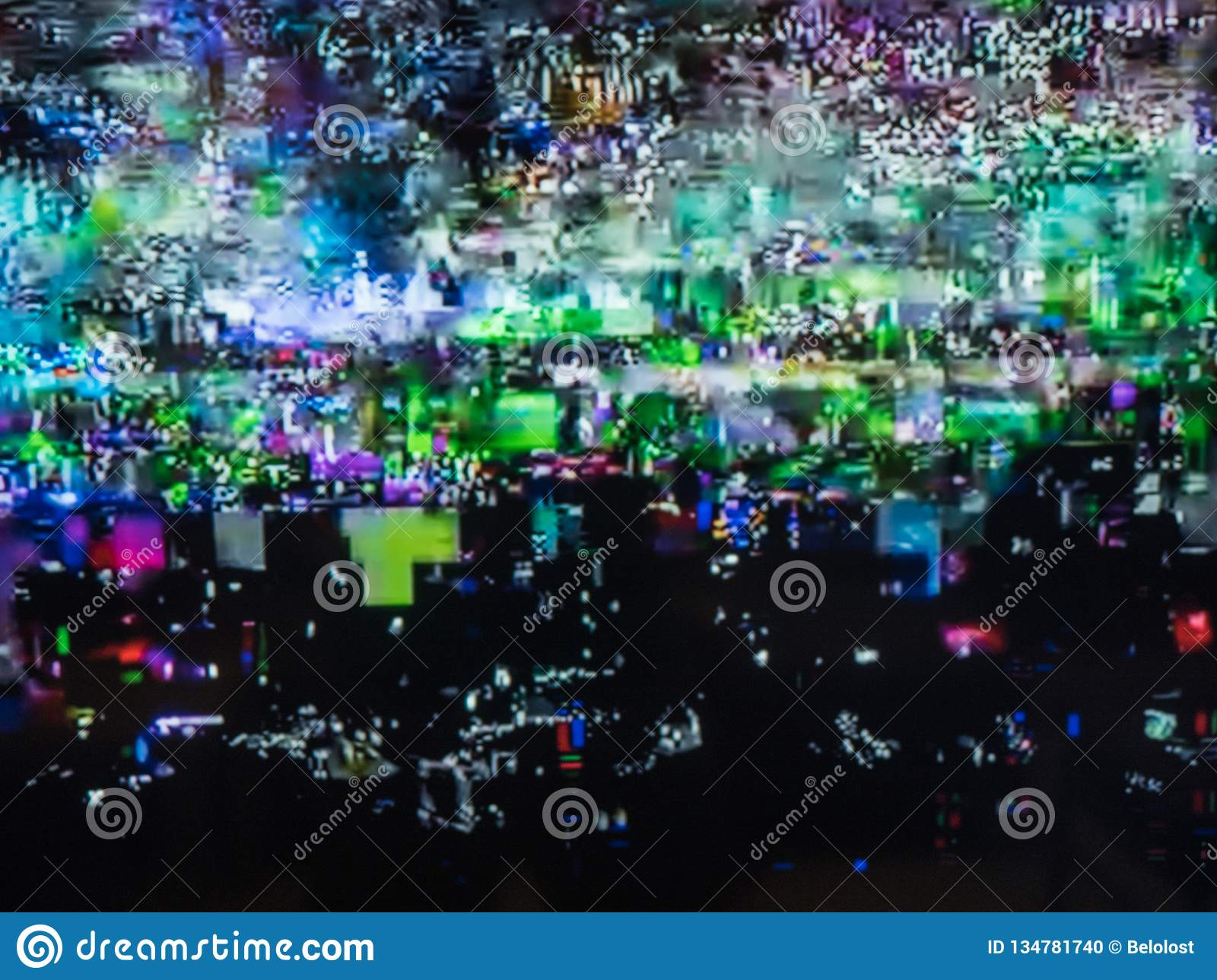 Bad TV signal, television interference, color digital noise. Abstract background