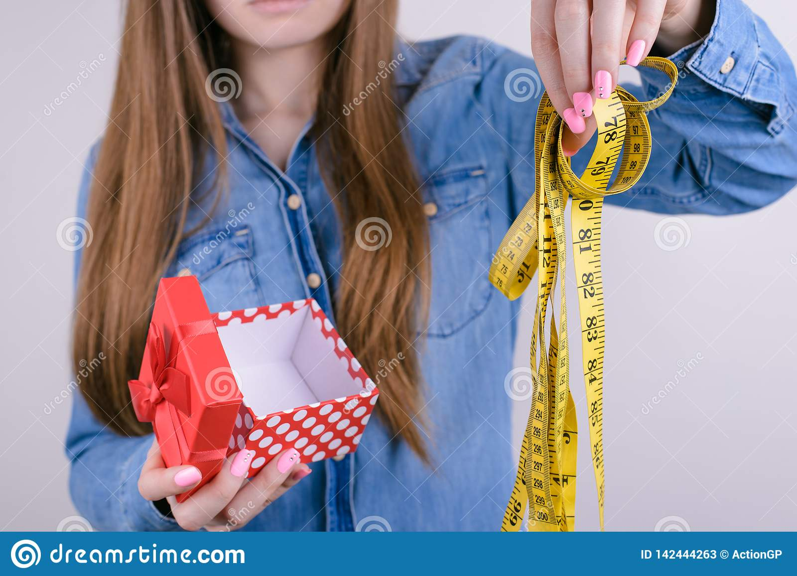 Bad unwanted unwished gift for people lady person concept. Cropped closeup photo of disappointed confused frustrated student