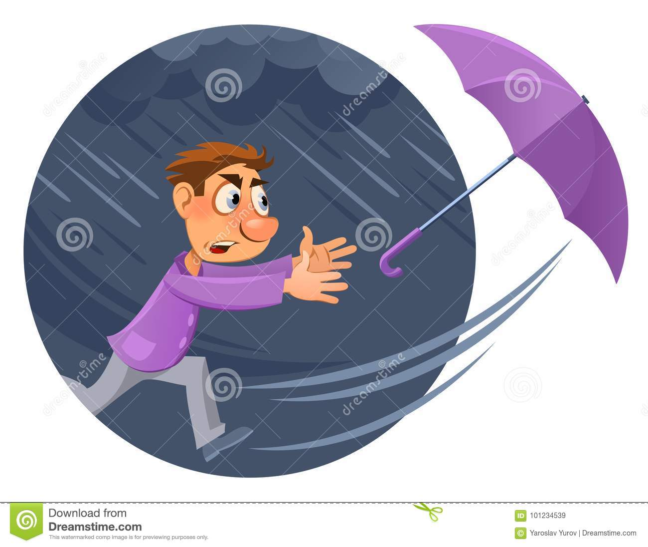 Bad weather. Rain and wind. Hurricane. Cartoon man tries to catch an umbrella.