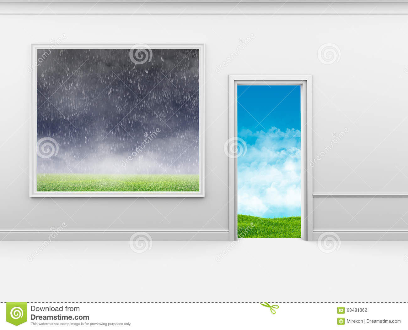 Bad Weather On The Wall In Frame And Good Outside Stock Illustration ...