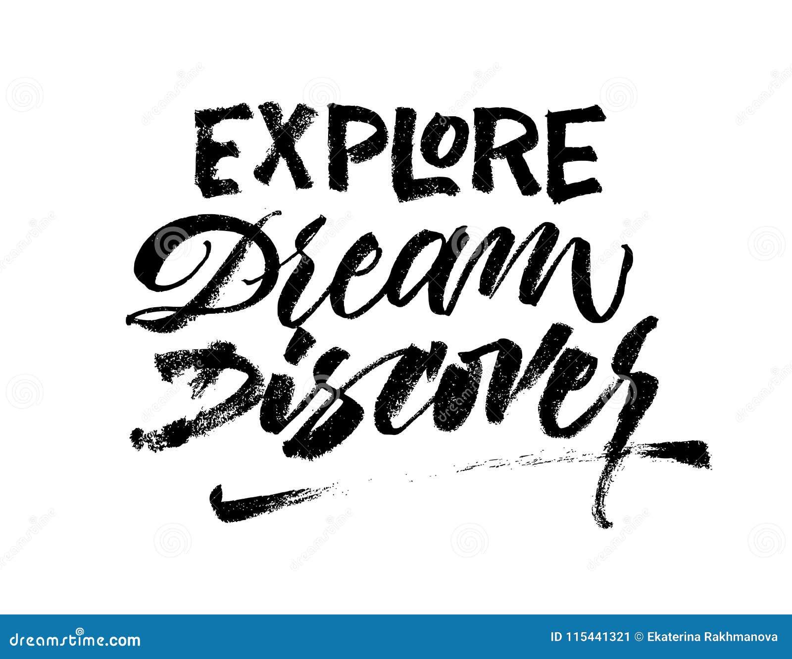 Bada sen Odkrywa Podróż zwrota muśnięcia literowanie Inspirati
