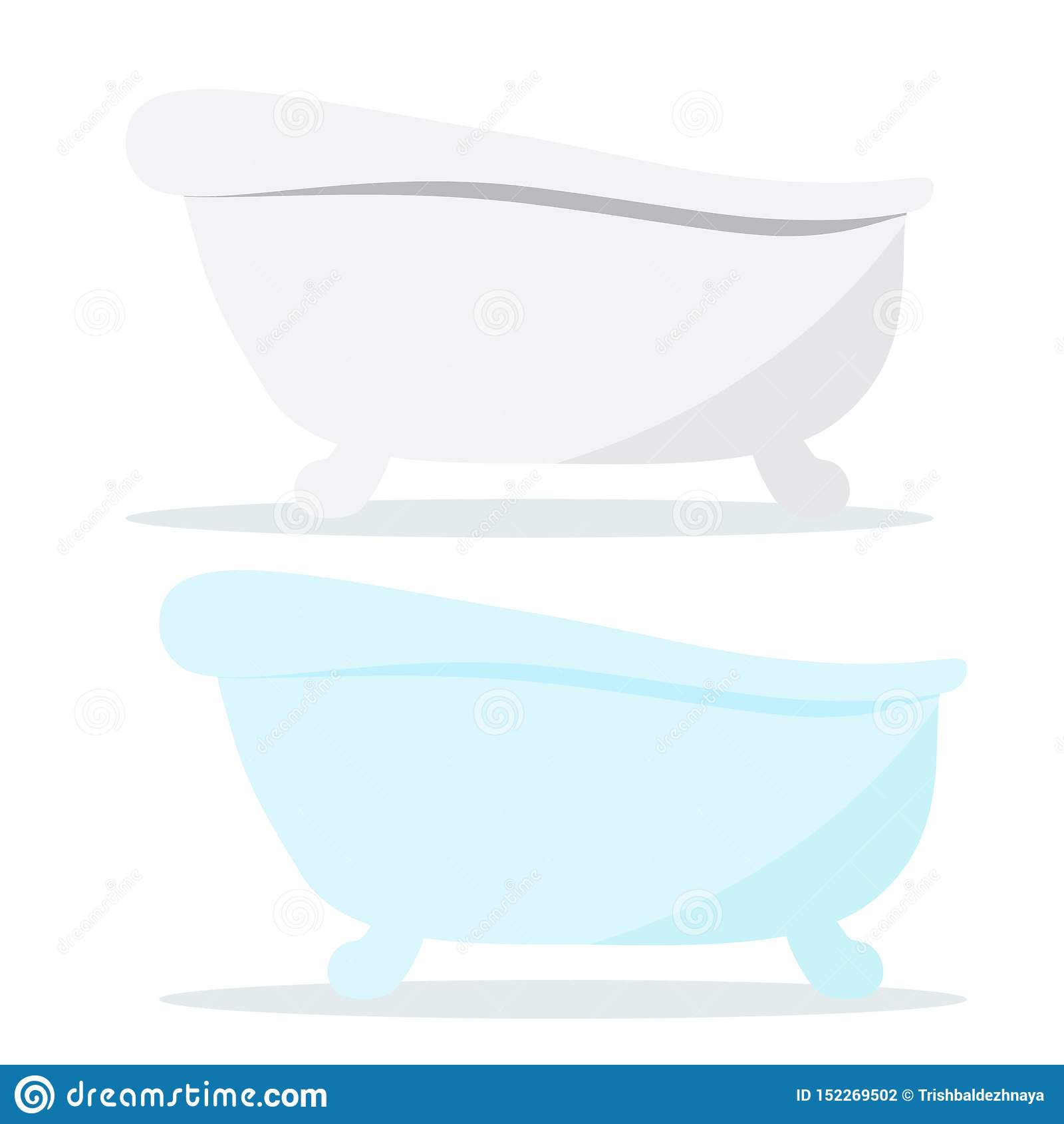 Badar vit och blå färg för tappninggjutjärn symboler med skuggor som isoleras på vit bakgrund