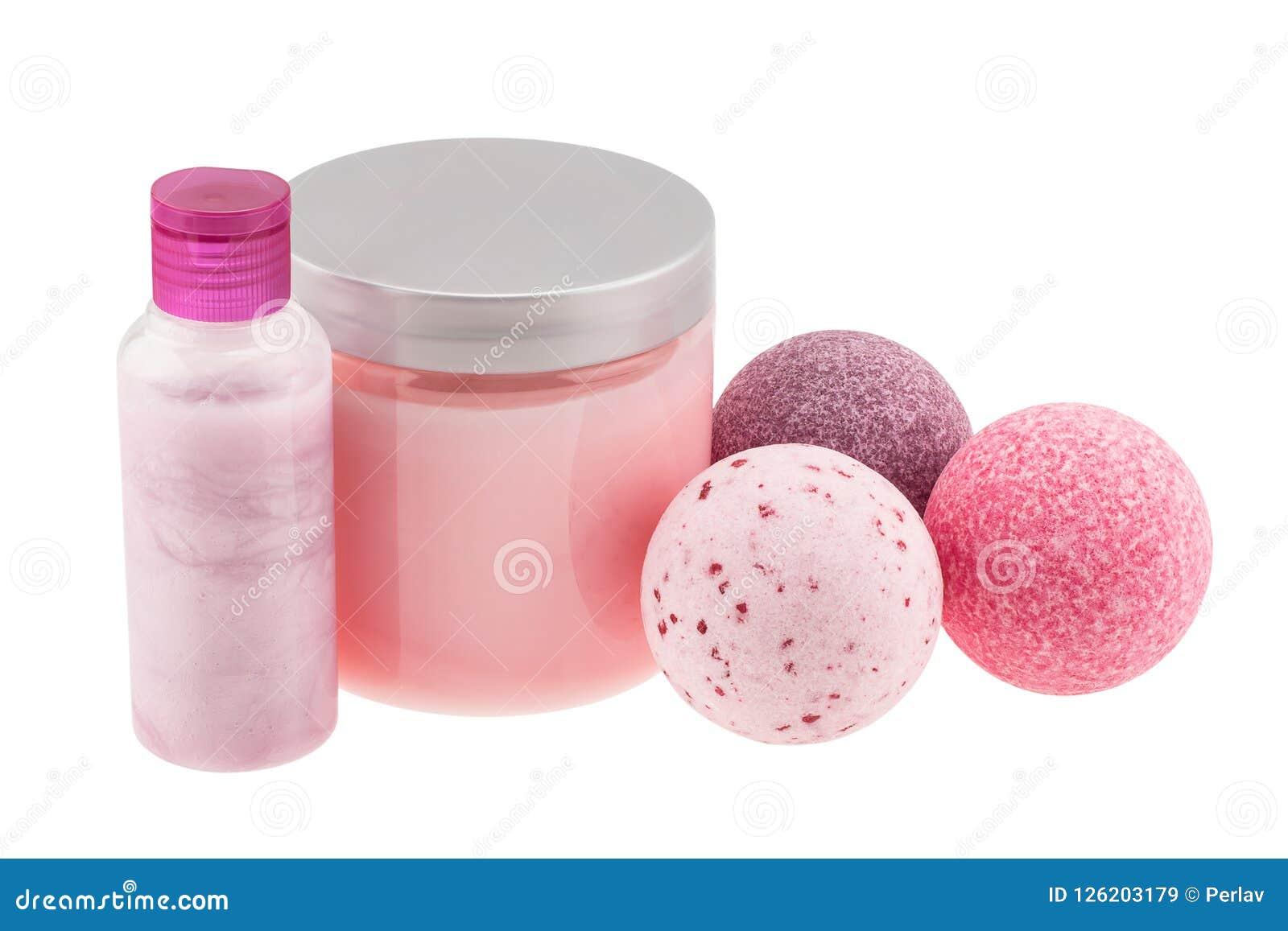Badballen en kosmetische flessen