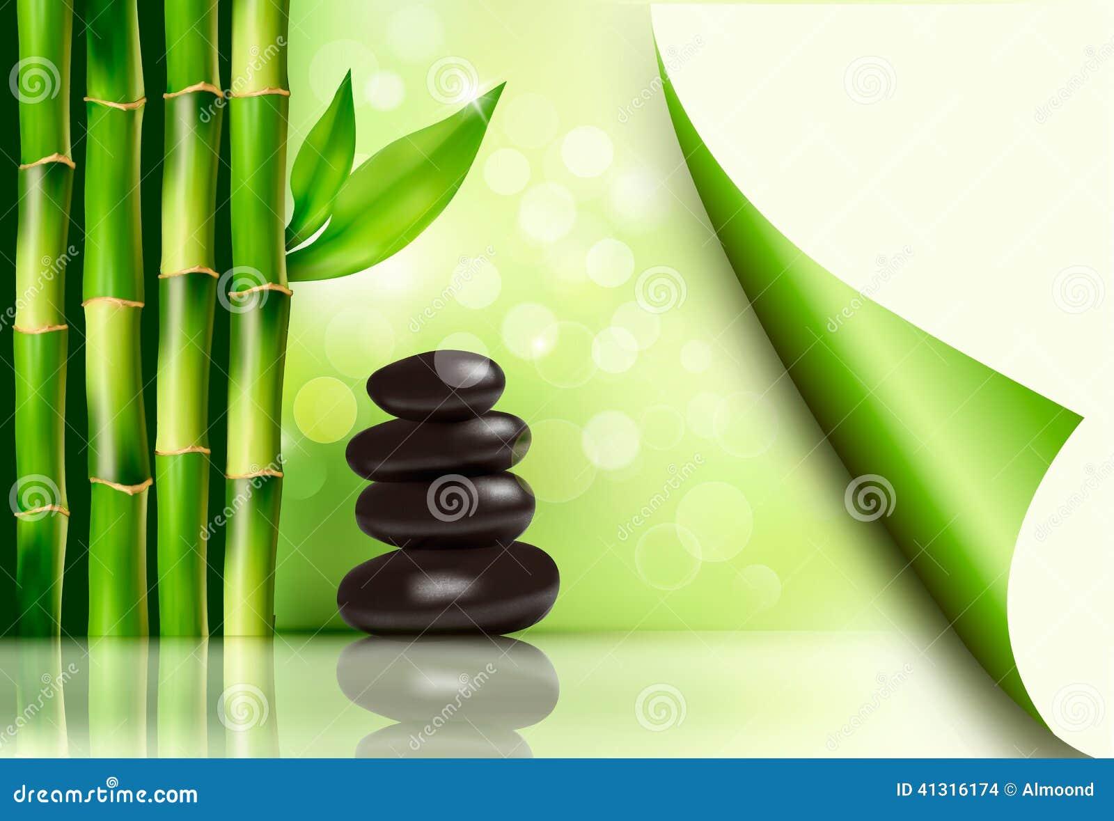 Badekurorthintergrund Mit Bambus Und Steinen Vektor Abbildung