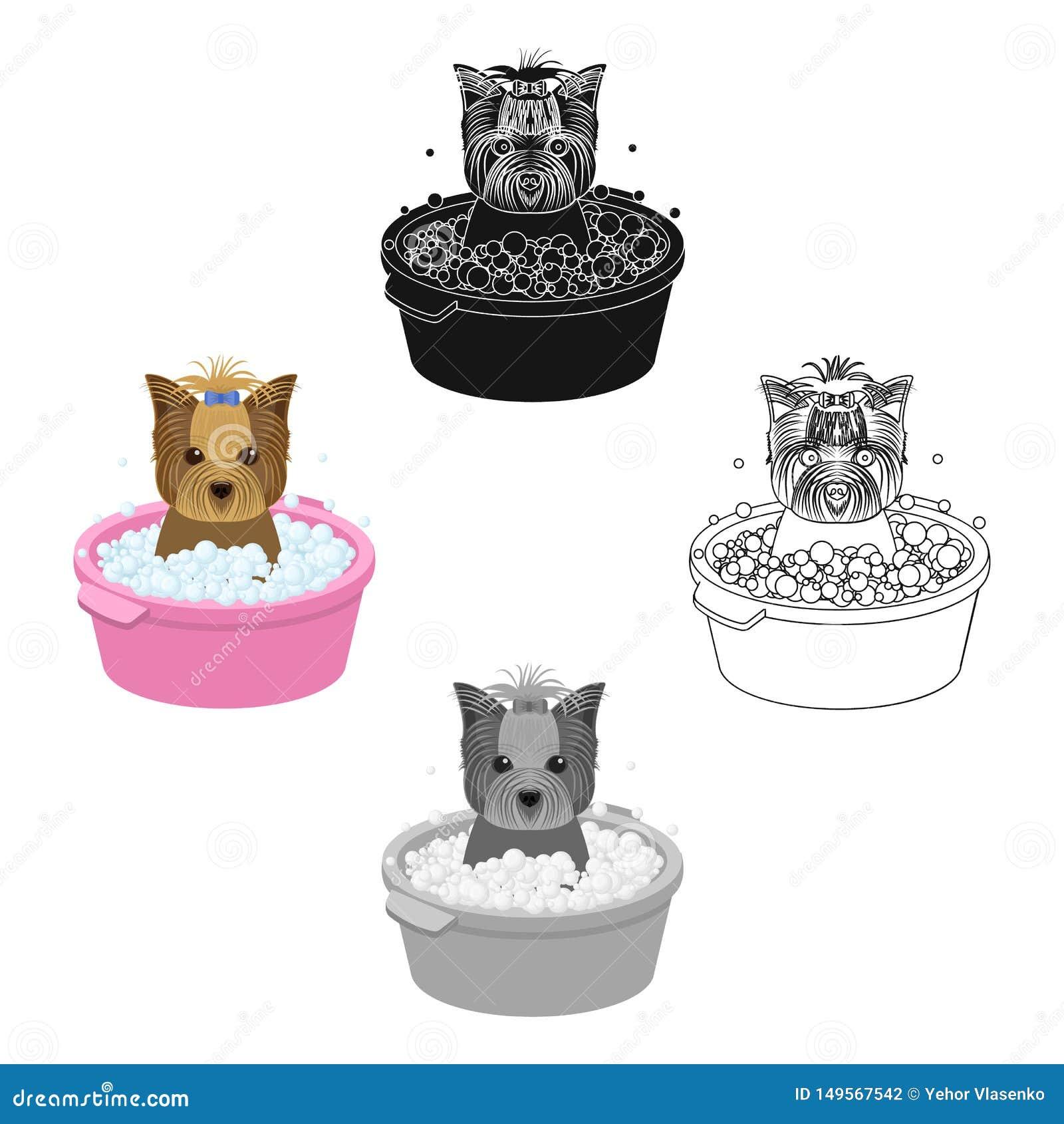 Baden des Haustierwelpen in einer Sch?ssel Hund, Haustier, einzelne Ikone der Hundesorgfalt in der Karikatur, schwarzes Artvektor