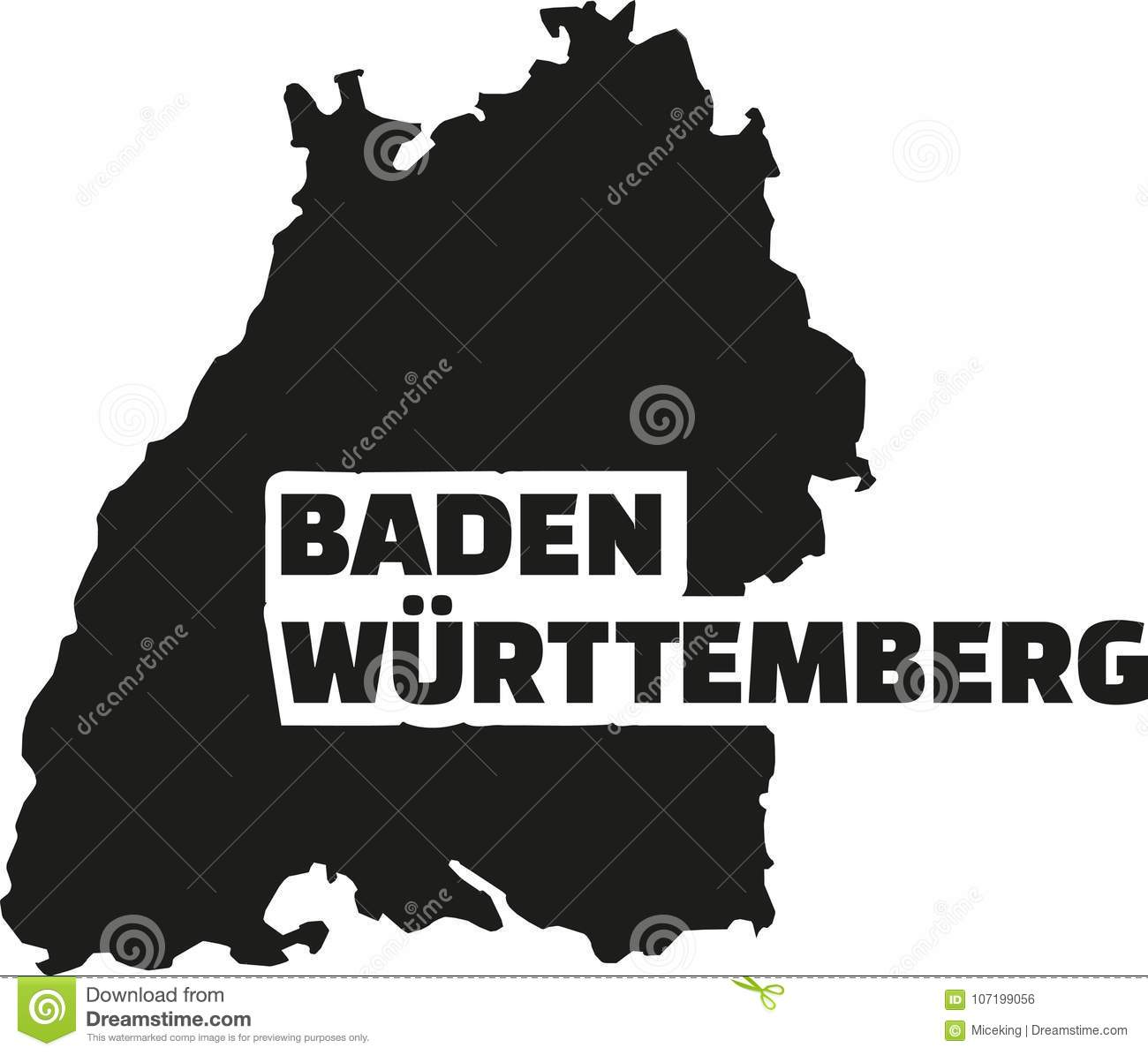 Map Of Germany Karlsruhe Baden.Baden Wurttemberg Map With Title Stock Vector Illustration Of
