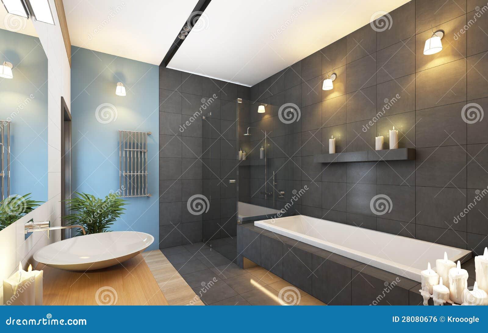 Badezimmer In Den Grauen Farben Stock Abbildung Illustration Von