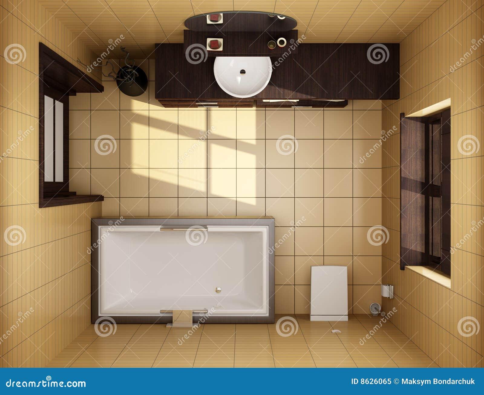 Badezimmer der japanischen art draufsicht stockbild for Badezimmer japanisch