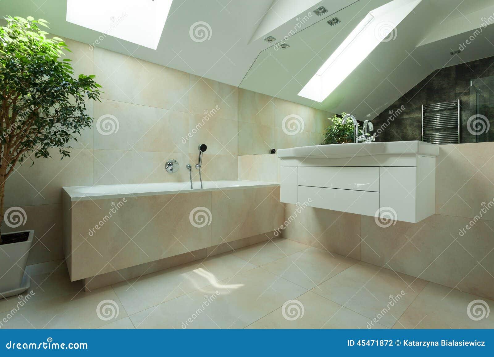 Download Badezimmer Im Dachboden Stockfoto. Bild Von Bequem, Belichtet    45471872