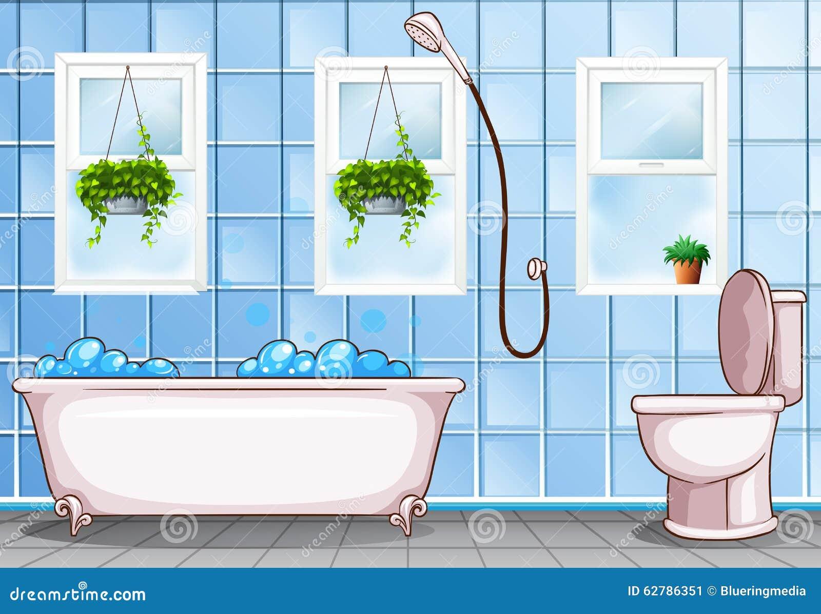 badezimmer mit badewanne und toilette vektor abbildung bild 62786351. Black Bedroom Furniture Sets. Home Design Ideas