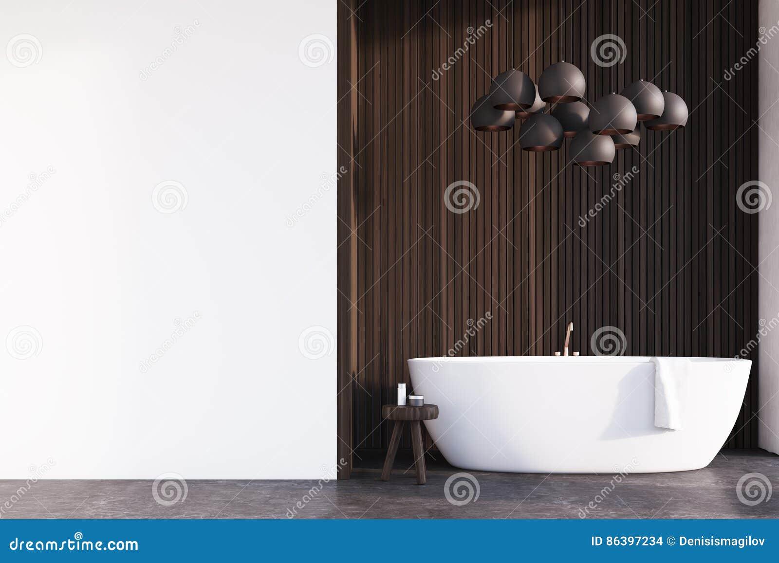 Badezimmer Mit Lampen, Dunkles Holz, Wand Stock Abbildung ...
