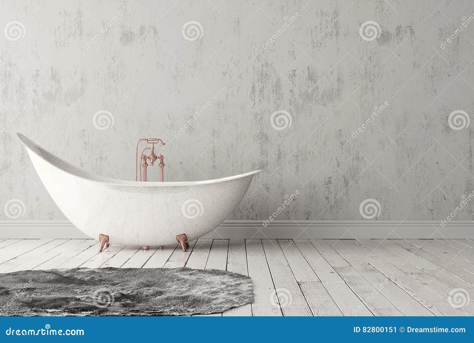 Badezimmer Mit Teppich, Bretterboden Und Rauer Wand Stockbild - Bild ...