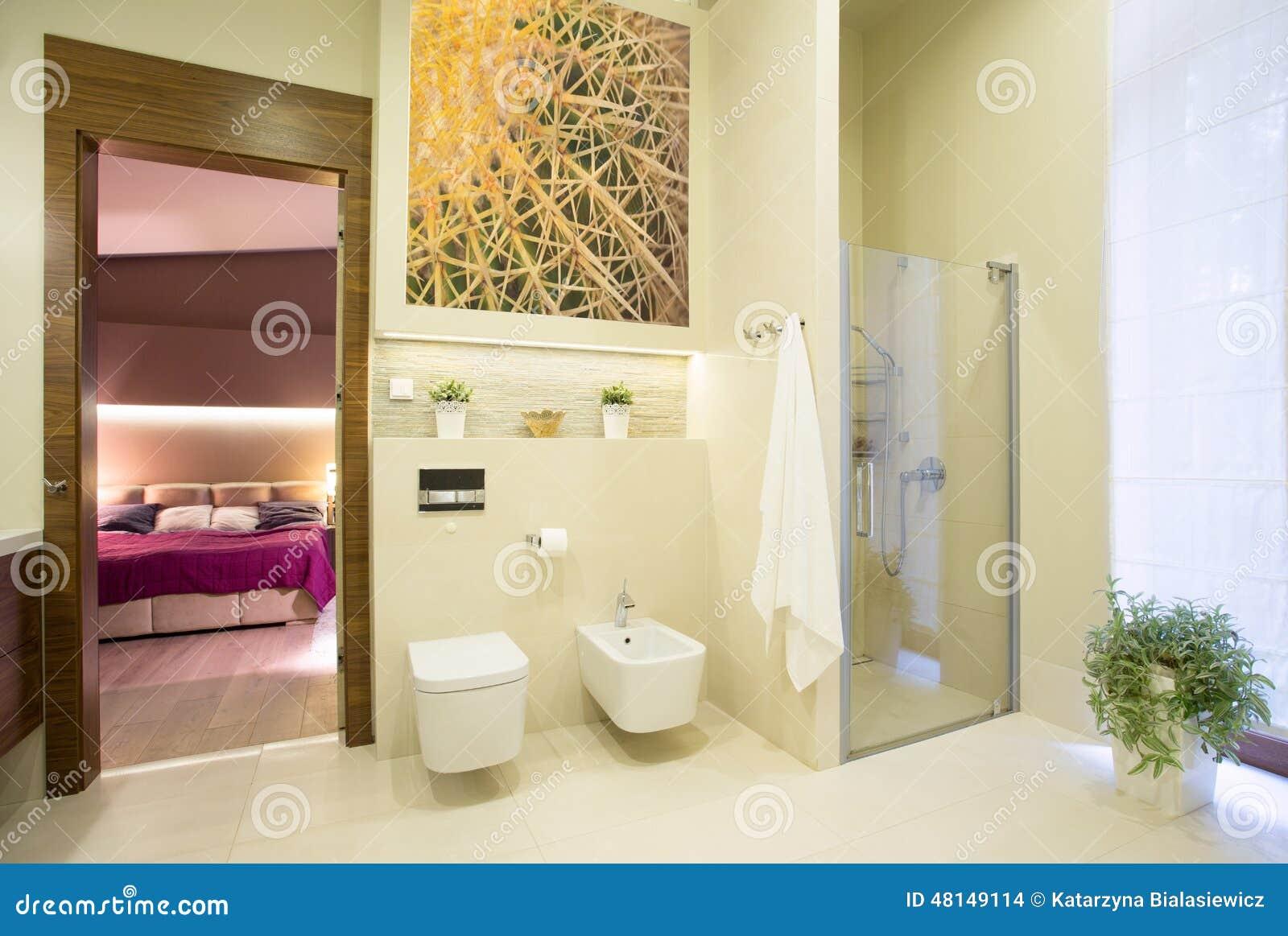 badezimmer offen auf schlafzimmer stockfoto bild 48149114. Black Bedroom Furniture Sets. Home Design Ideas