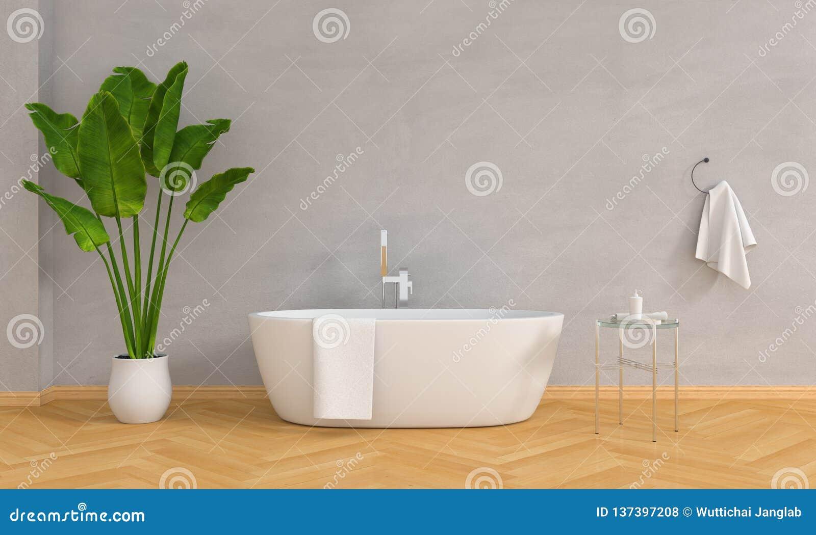 Badezimmerinnenbadewanne und Anlage, Dachbodenart, Wiedergabe 3D