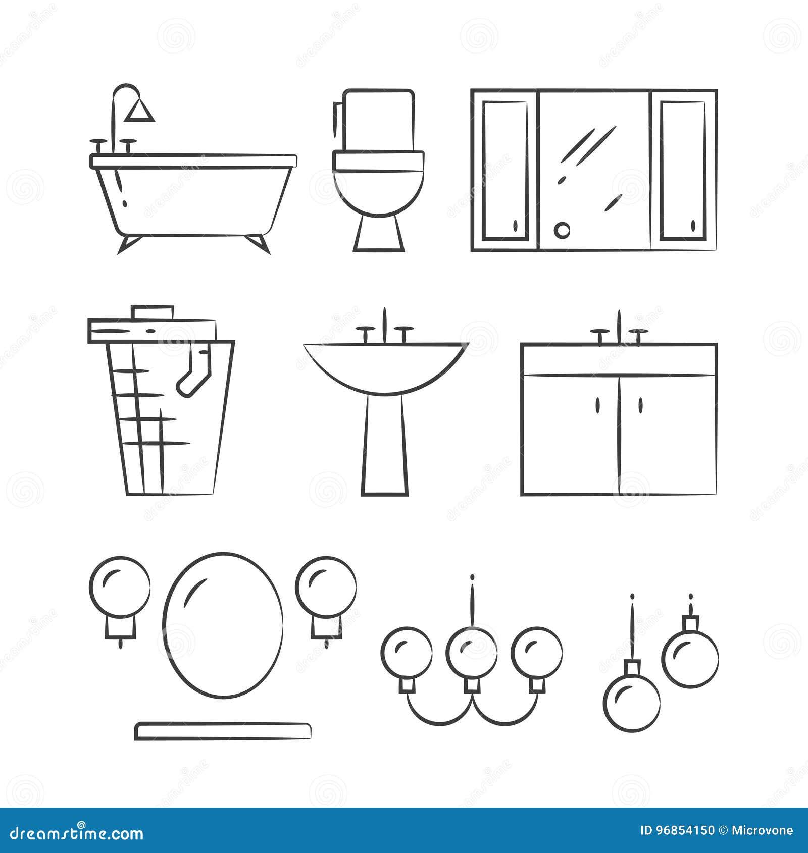 Badezimmermobel Und Beleuchtung Ubergeben Gezogene Linie Ikonen