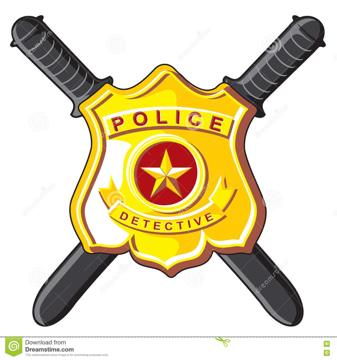 Badge And Batons Police Stock Vector Illustration Of Official