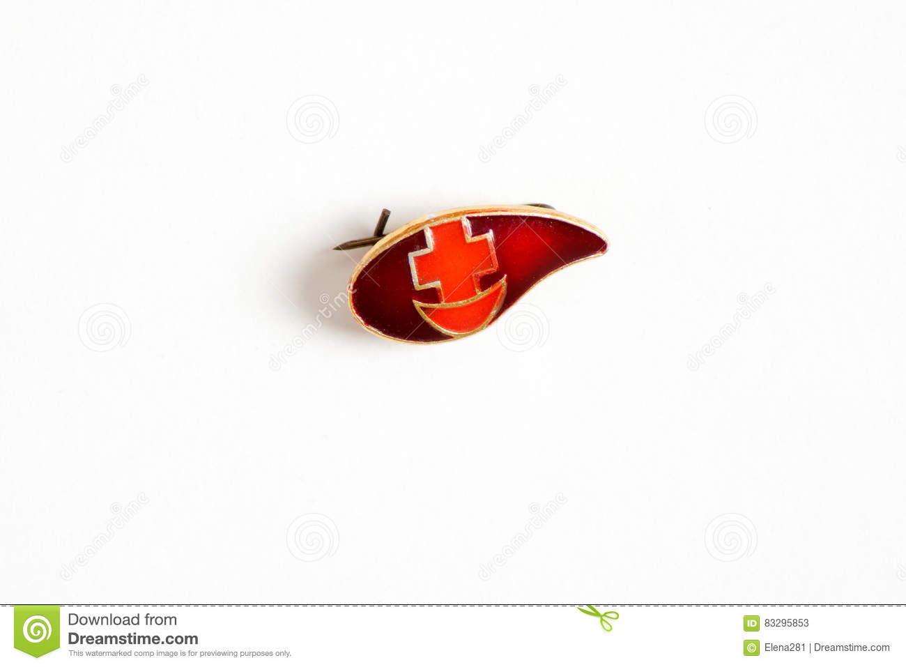 d5a76e6de7db Badge In The Form Of A Blood Drop With A Cross And Crescent ...