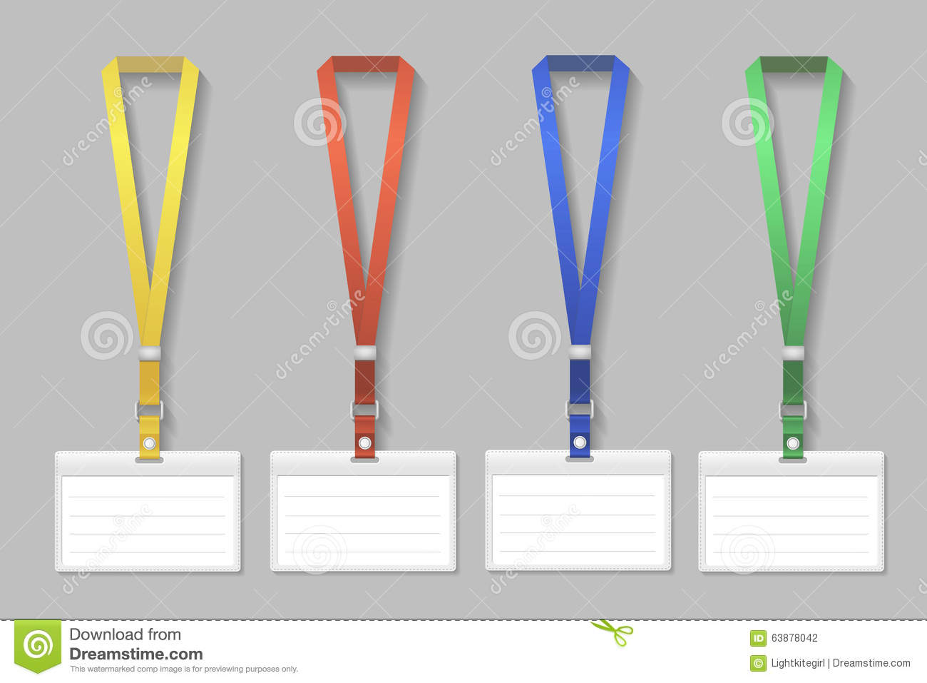 Badge Template, Name Bag Holder With Lanyard Set Stock Vector ...