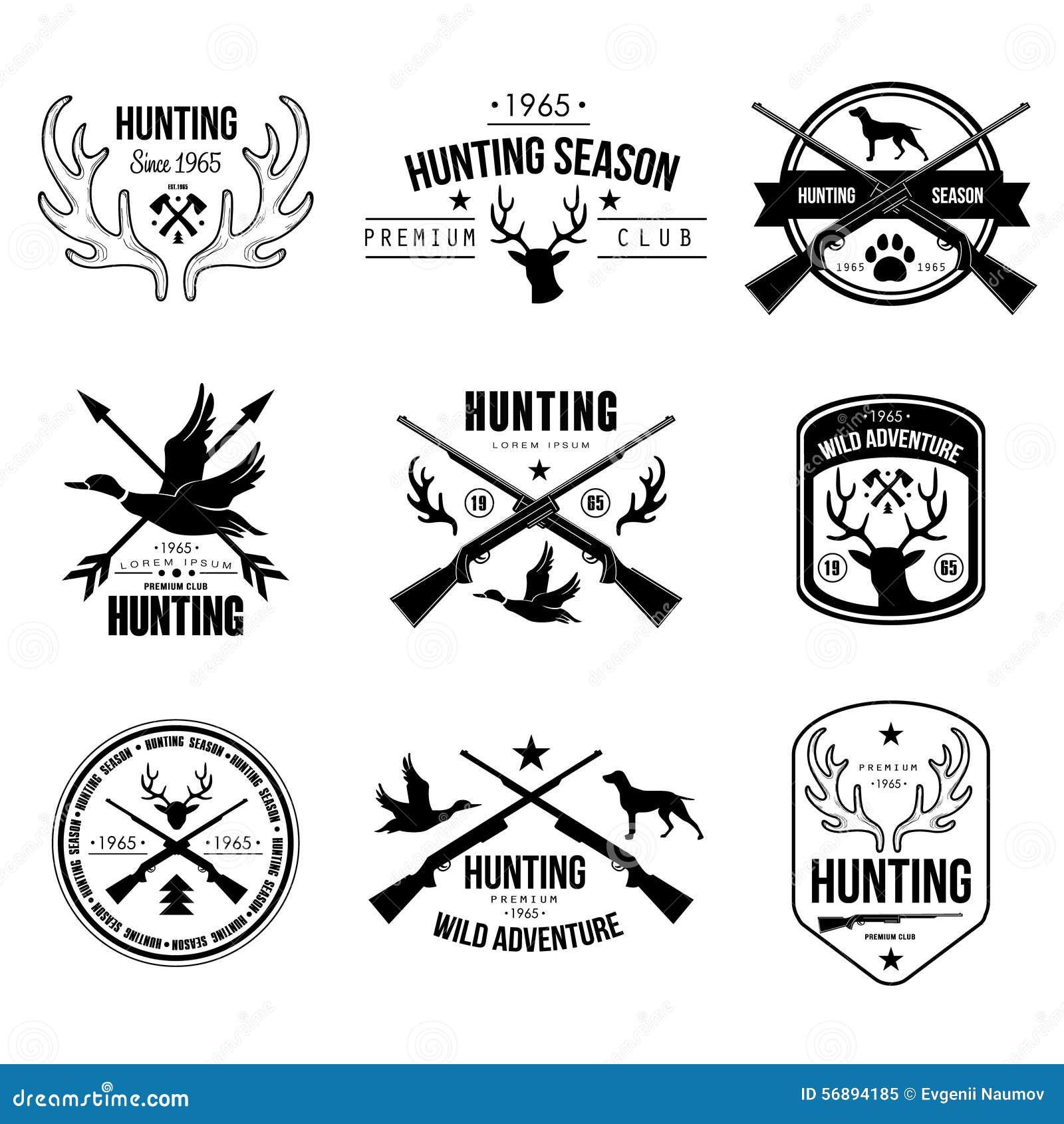 Stag Head Designs Badges Labels Logo Design Elements Hunting Stock Vector