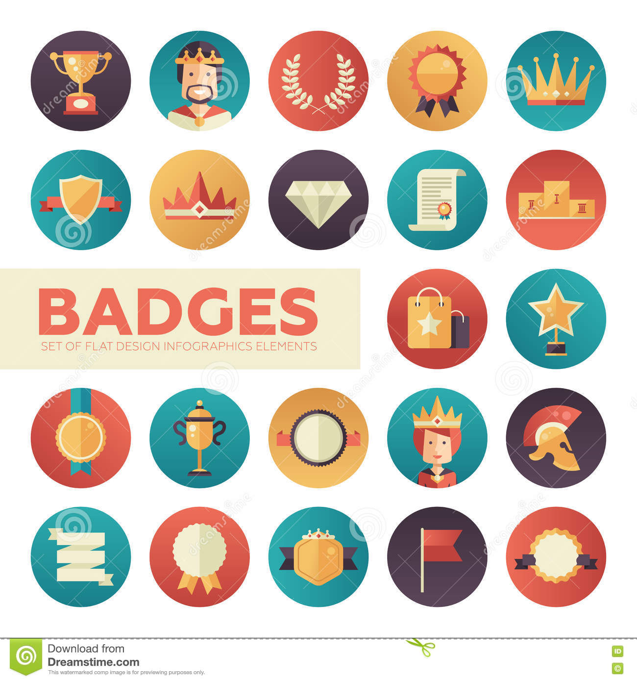 Badges Ribbons Awards Icons Set Stock Vector Illustration Of