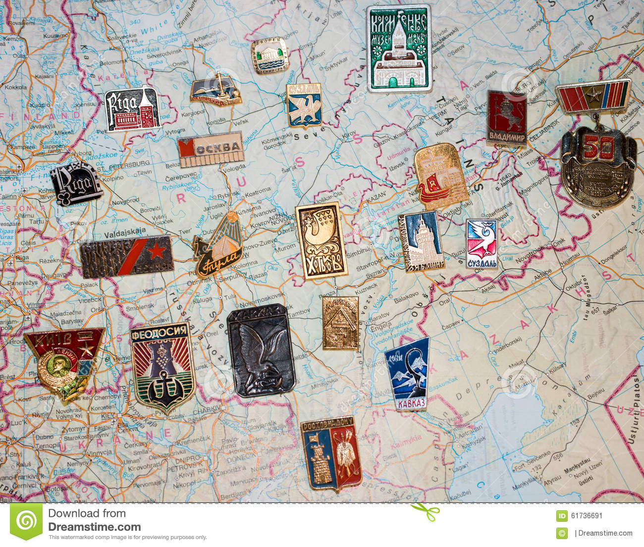 Badges Of The Soviet Cities On A Map Stock Image - Image of travel ...